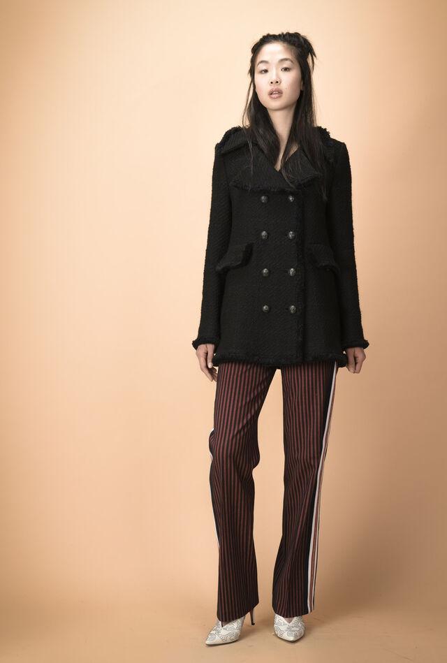 Tweed coat with fringed edges