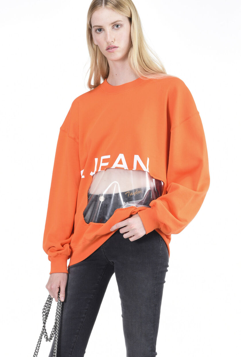 Sweatshirt with see-through inlay