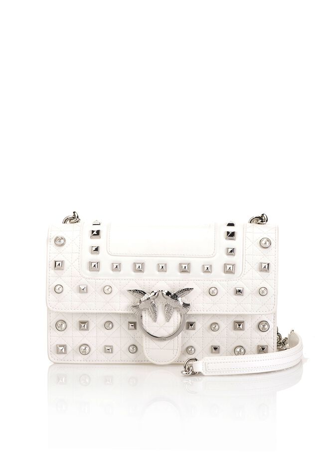 Love Bag Idillio in leather with studs and pearls