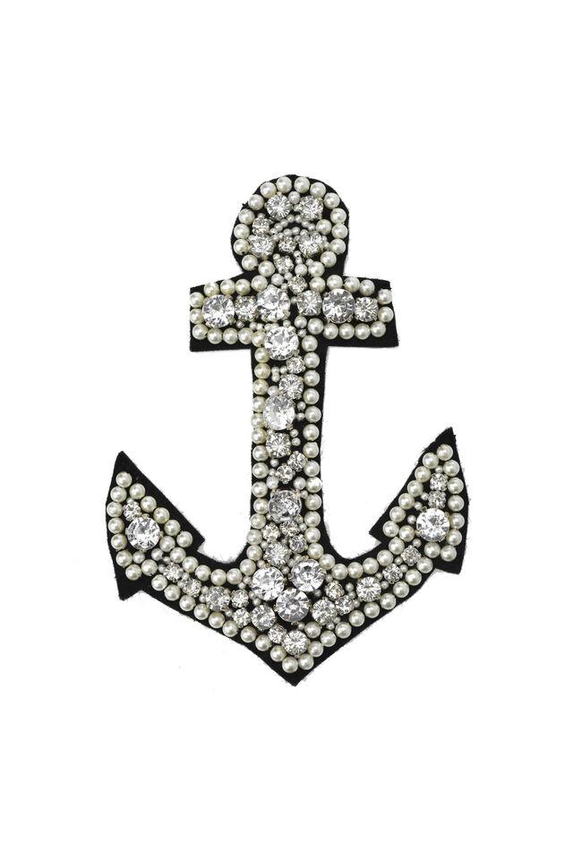 Broche en forma de ancla con perlas y engastes