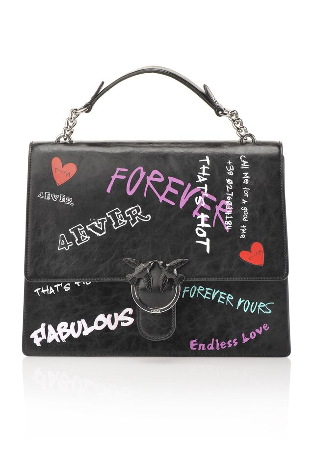 Flap bag Fabulous in graffiti print leather