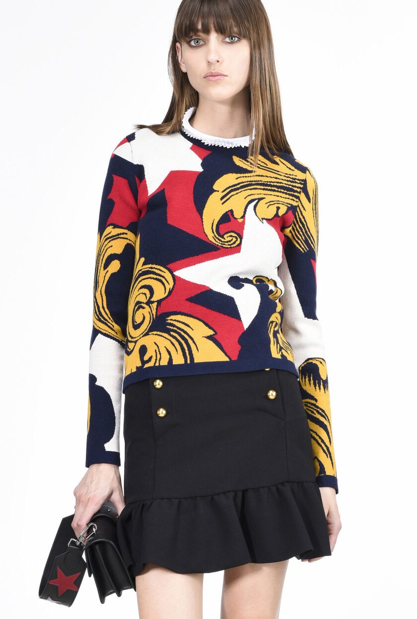 Jacquard knitted top with baroque motif