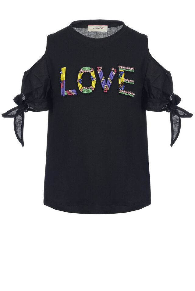 Stretch cotton jersey T-shirt with embroidery work