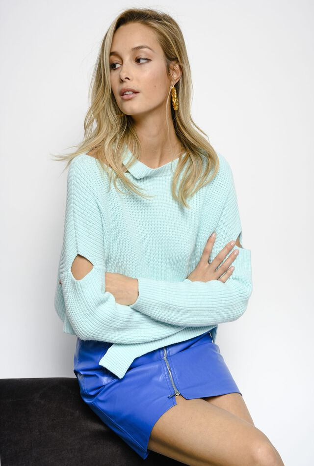 Fisherman's rib pullover with cut-outs