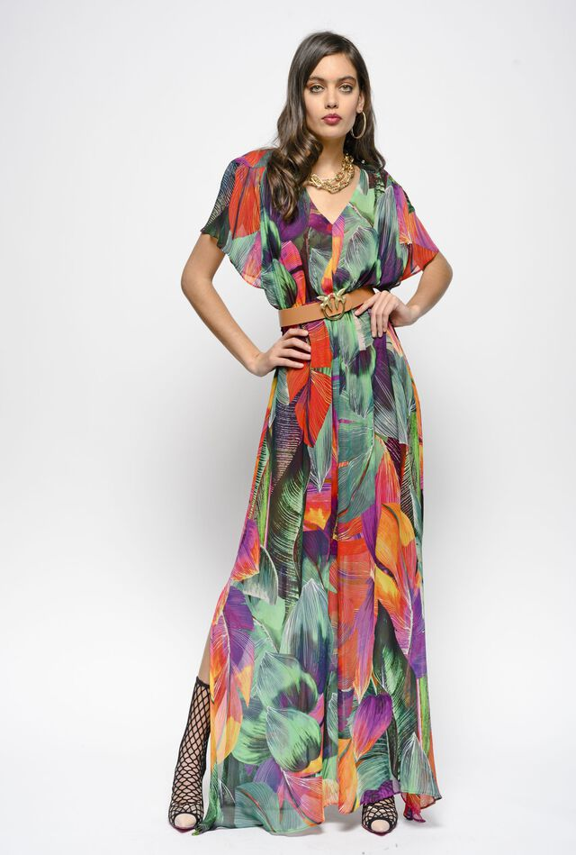 Long dress in macro leaf print crepon