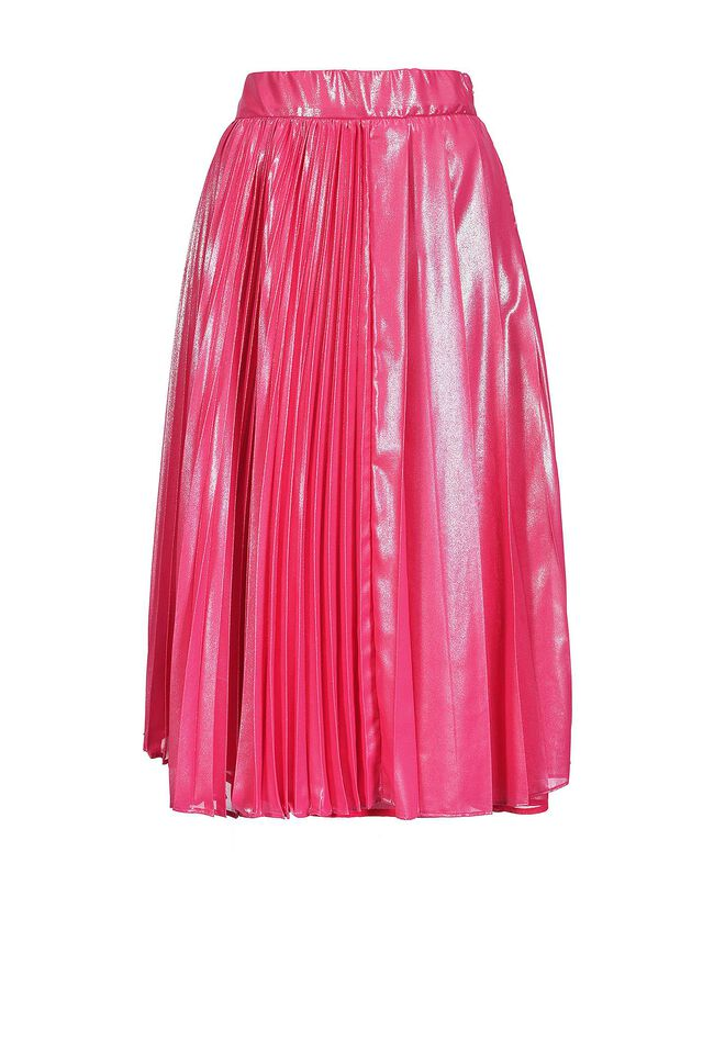 Pleated skirt in laminated georgette