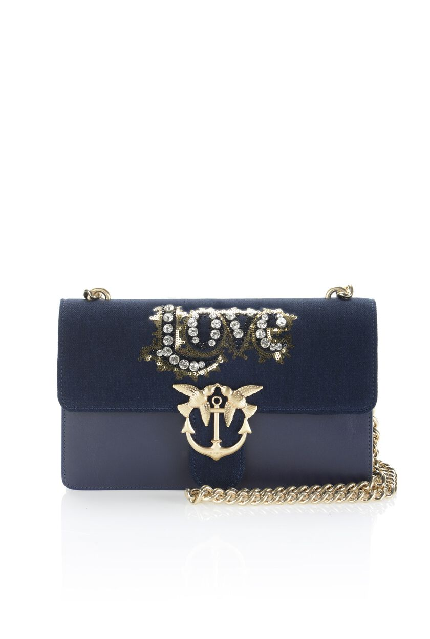 Bag in jeans and leather with embroidery and rhinestones