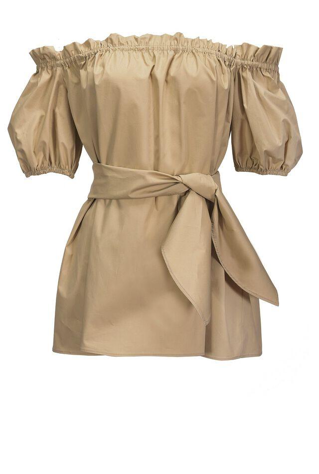 Blusa off-shoulders in popeline di cotone