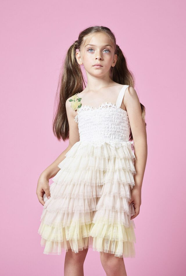 Lace dress with flounces