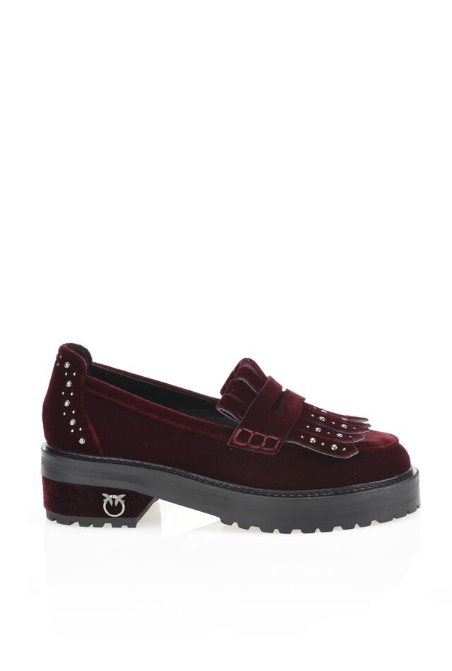 Velvet loafers with studs