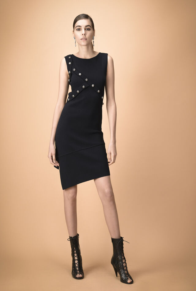 Asymmetrical dress in viscose with studs