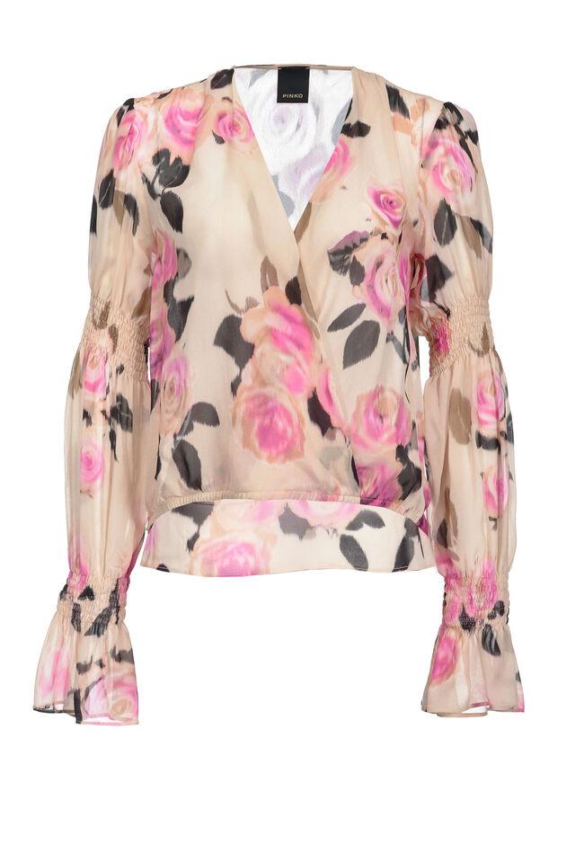 Chiné floral print blouse