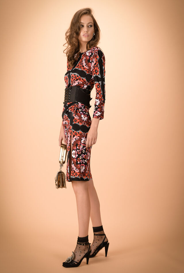Scarf-printed jersey dress