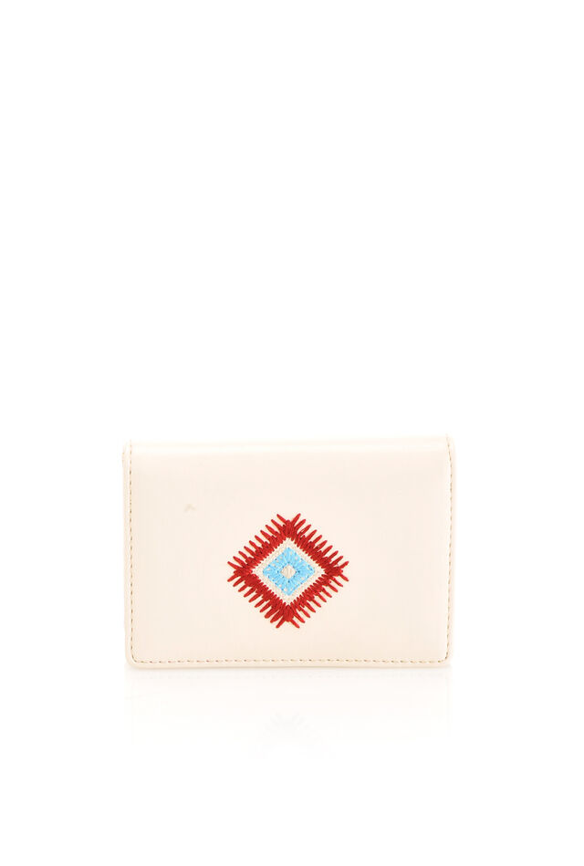 Card case in faux leather with folk embroidery