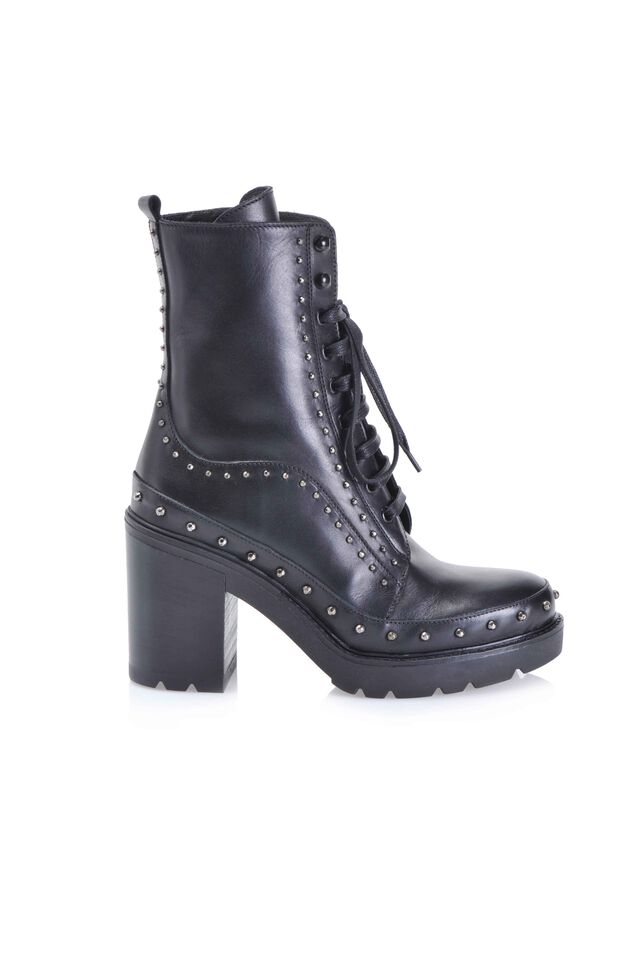 High heel leather combat boots