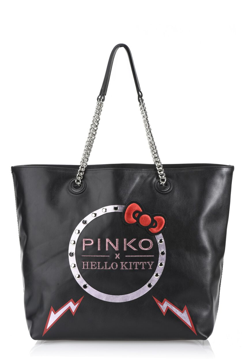 Hello Kitty calfskin shopper with embroidery and studs