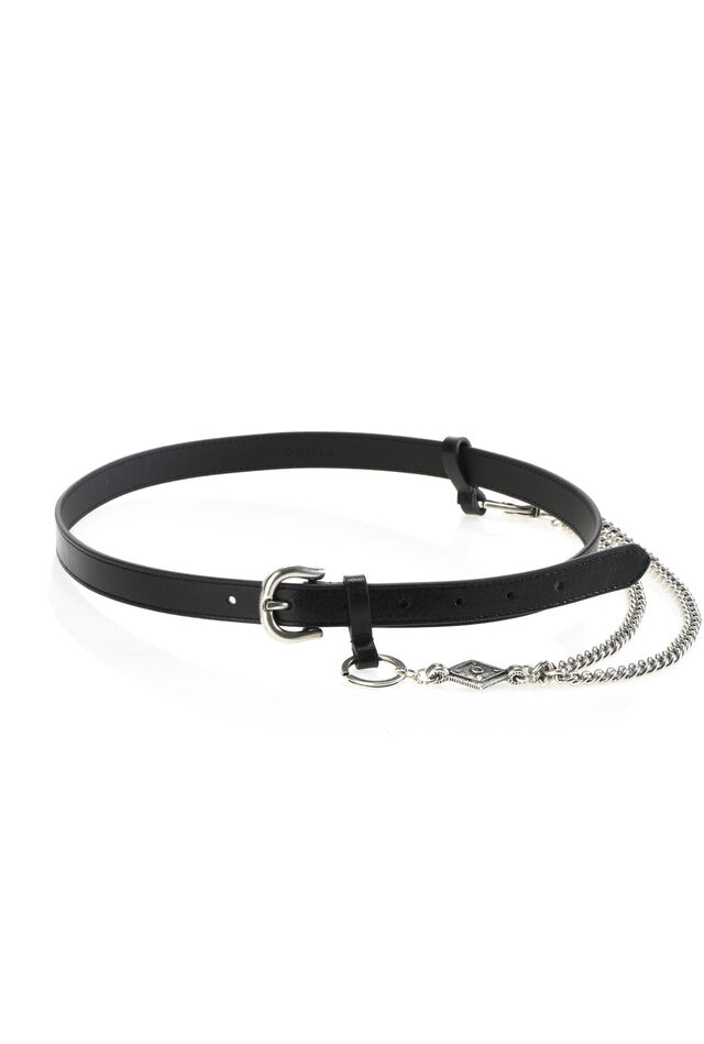 Leather belt with metal chain