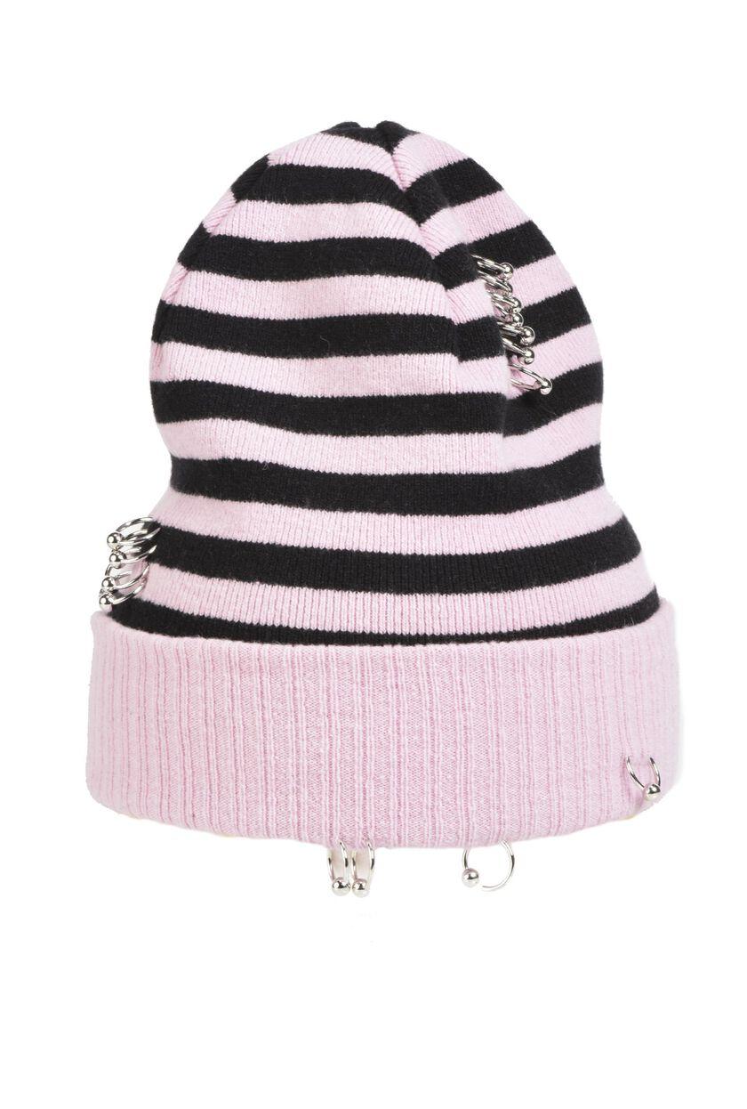 Cappello in misto lana rigato