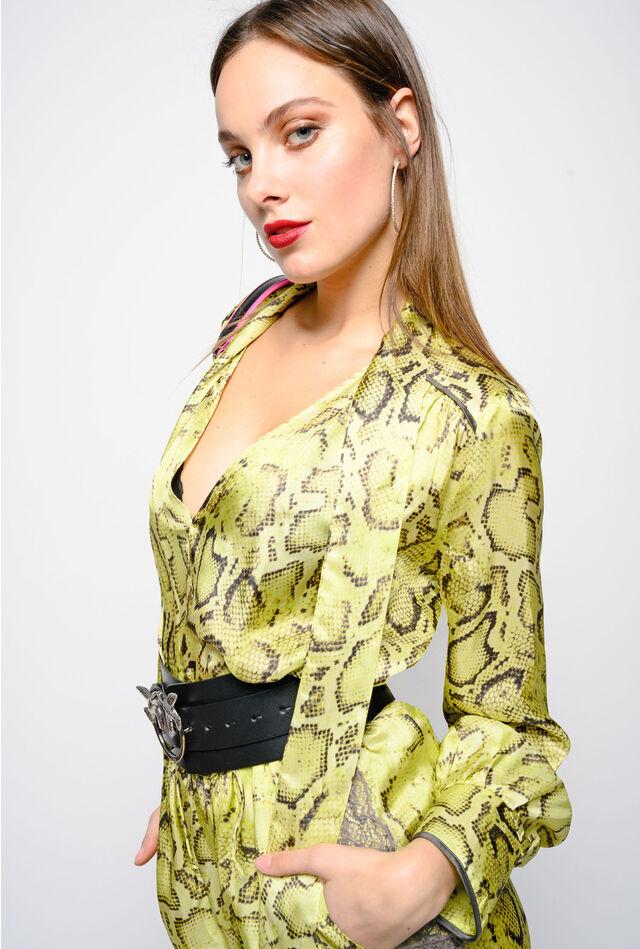Snake print twill blouse