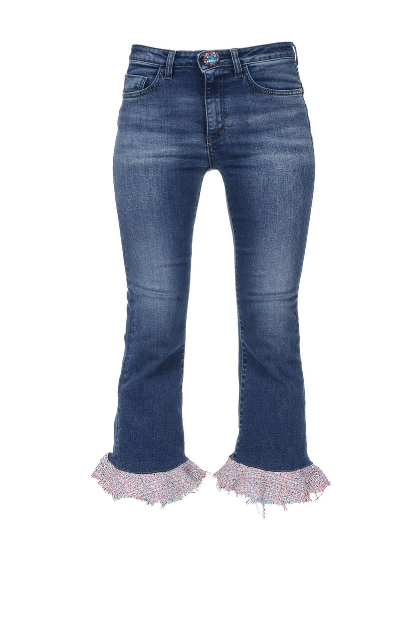 Mid-rise cropped jeans with flounces in bouclé fabric