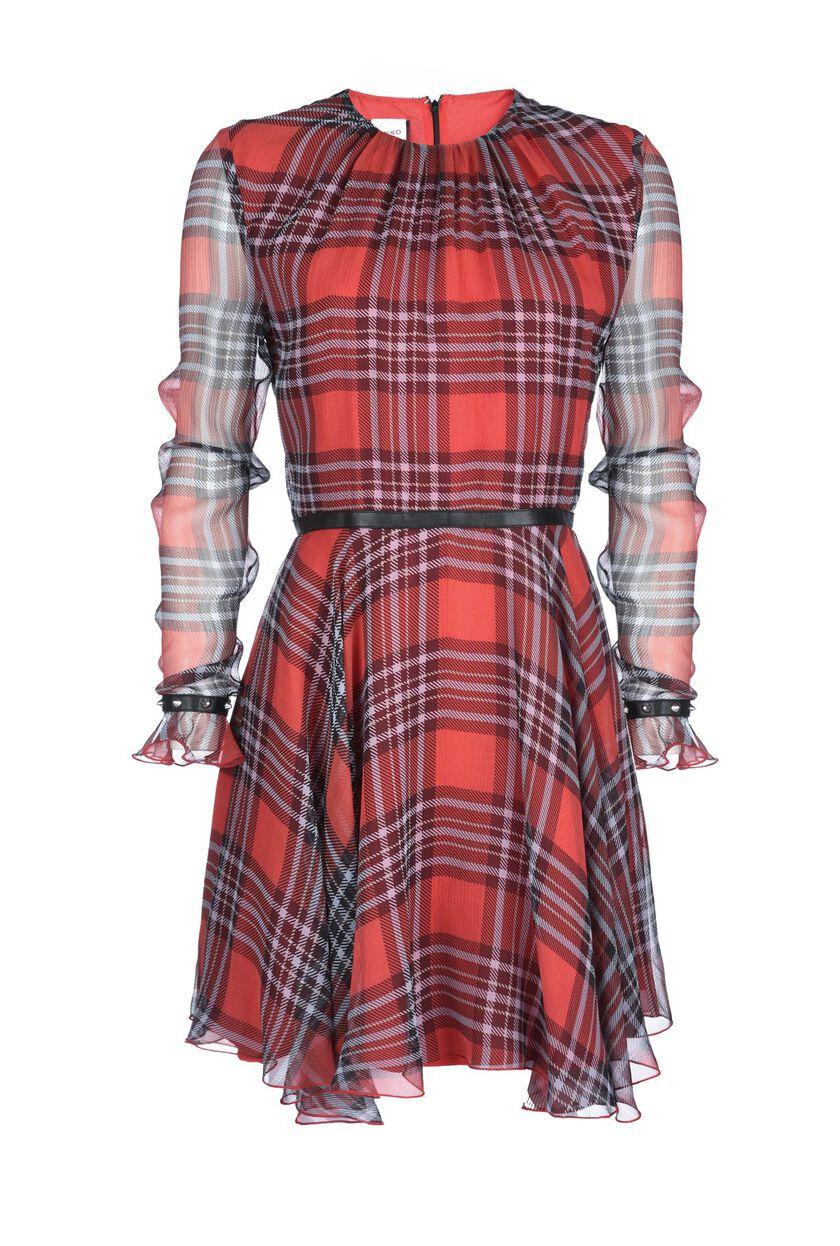Long-sleeve dress in georgette