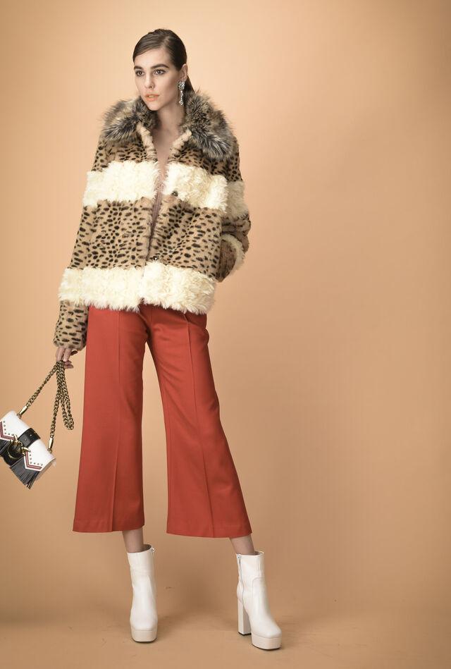Pantalone svasato in lana lucida