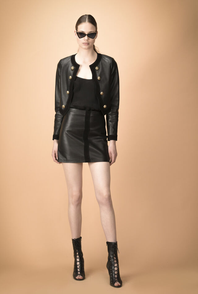Leather bolero with gold details
