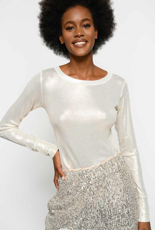 Ribbed laminated sweater