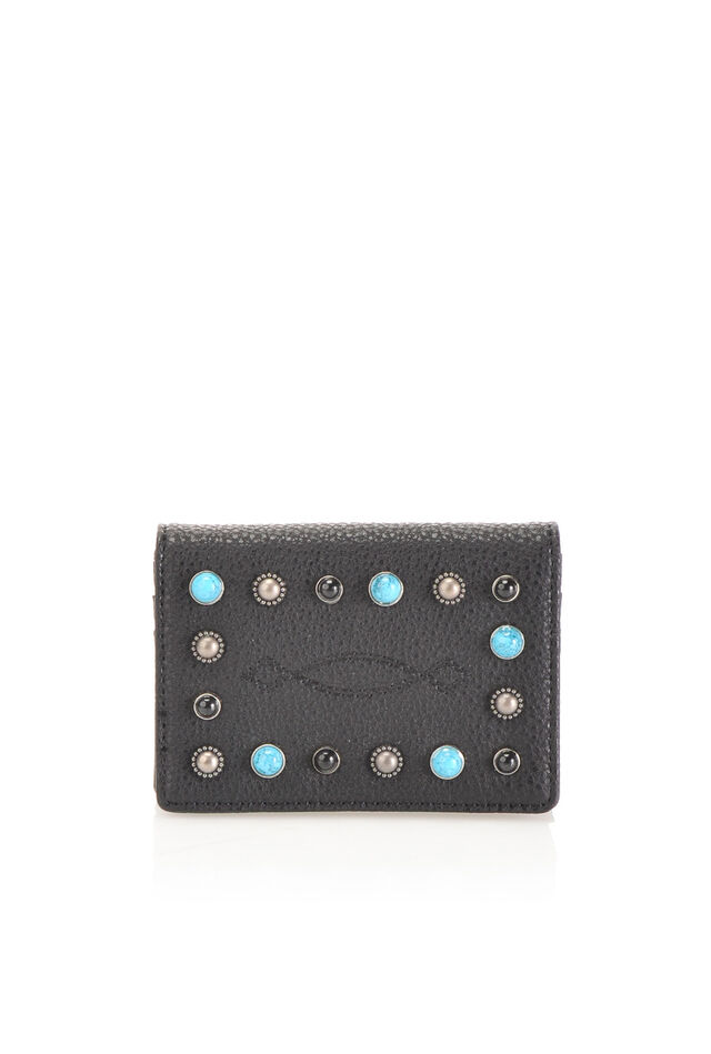 Faux leather card case with studs