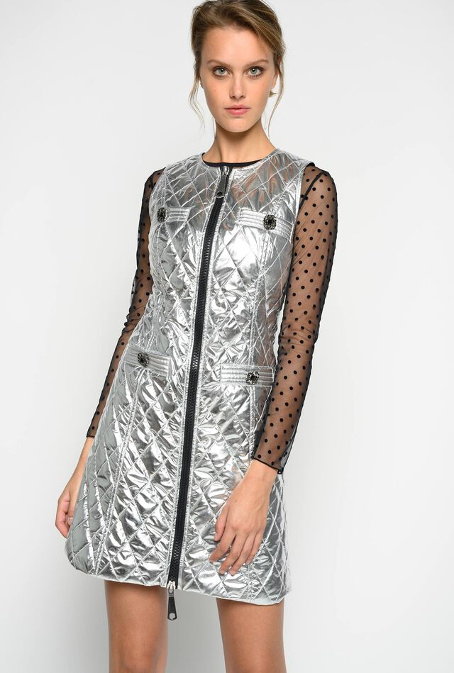 Quilted metallic dress