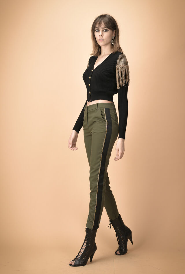 Gabardine trousers with embroidered band