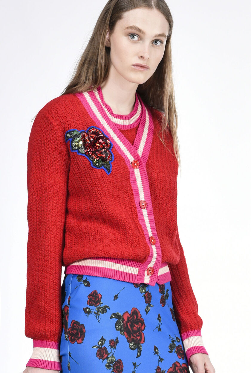 Cardigan in lana misto alpaca con patch