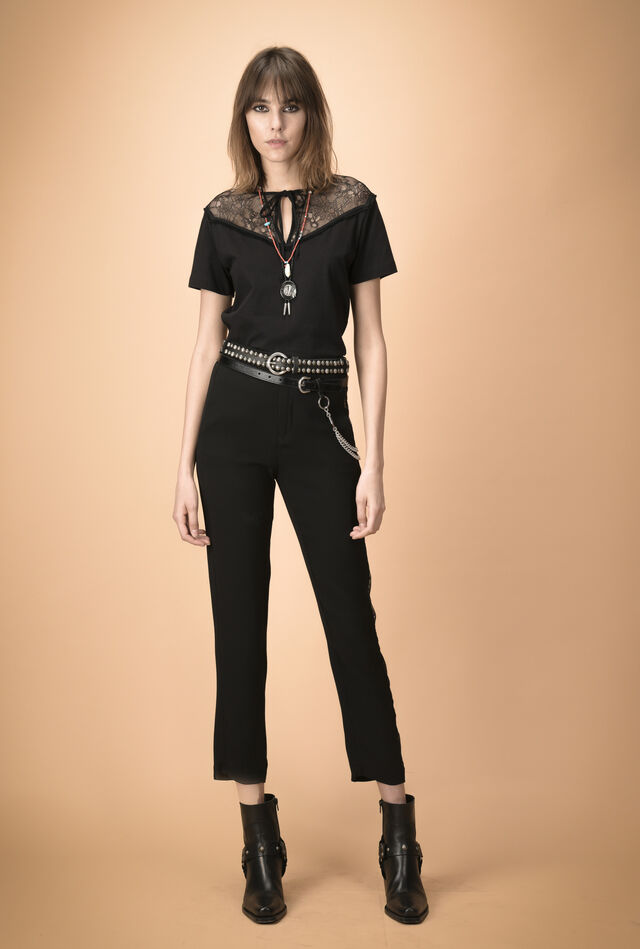 Cigarette trousers with lace side bands