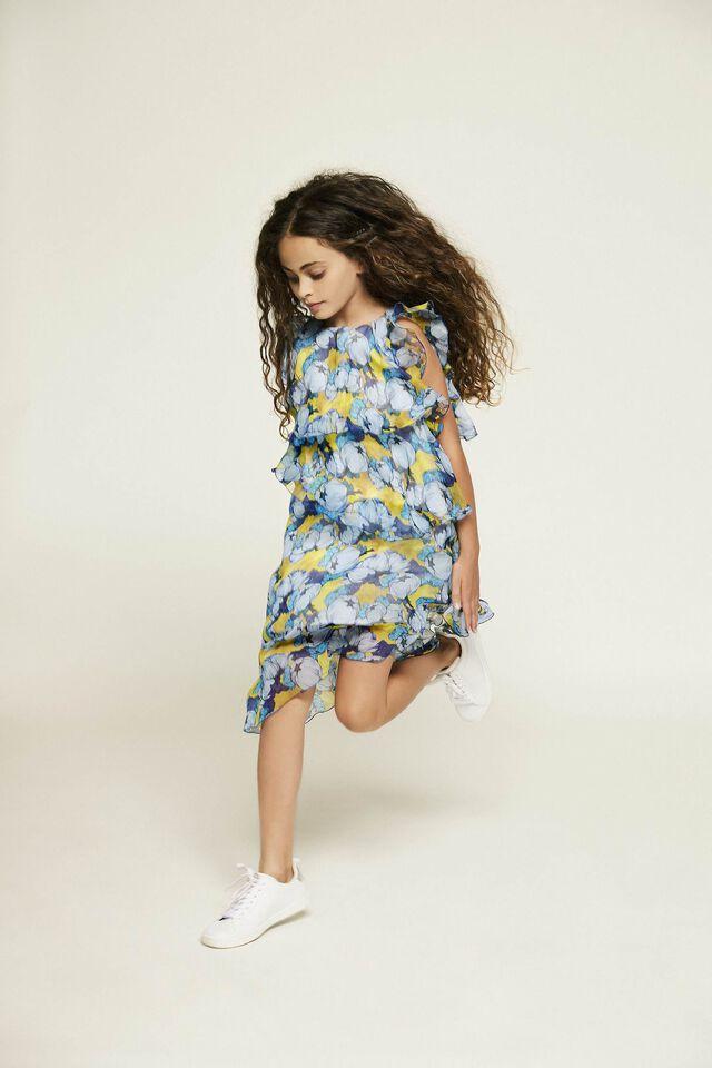 Flounce peony print crepon dress