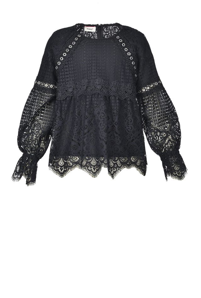 Studded blouse in rebrodé lace