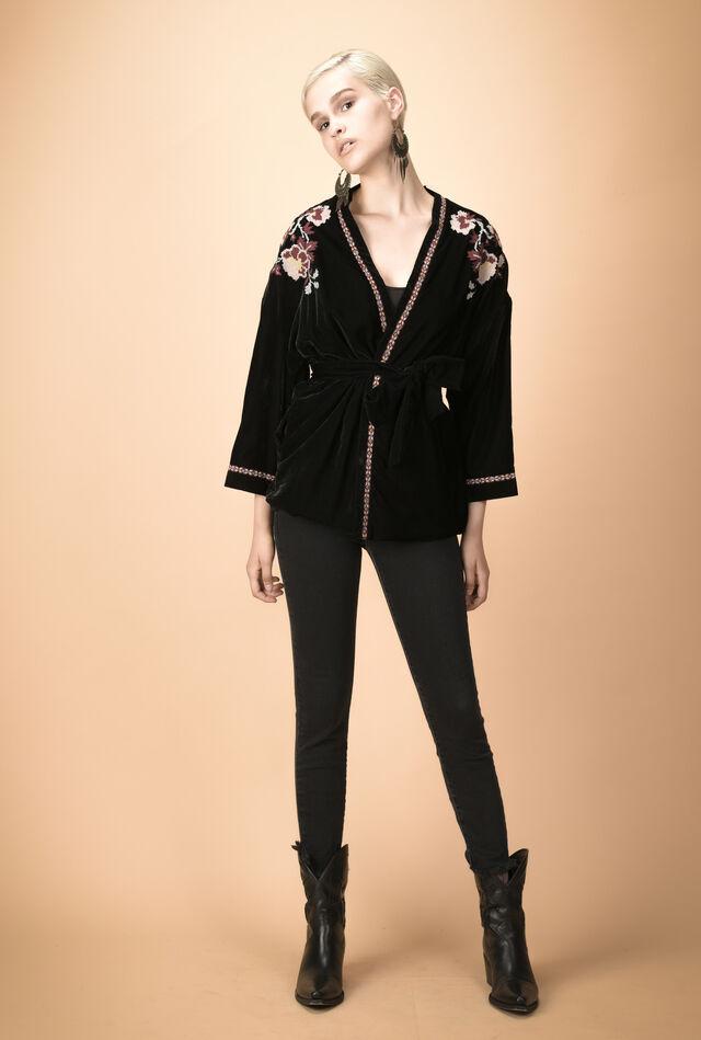 Velvet kimono jacket with embroidery