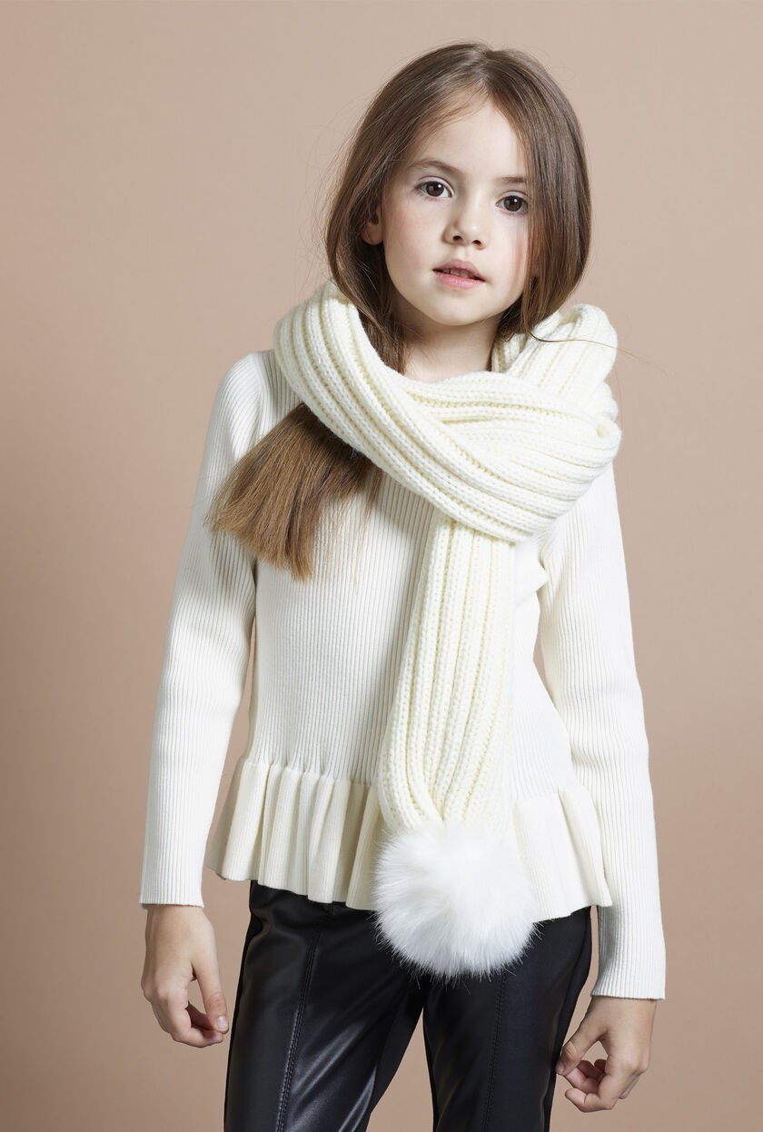 Wool scarf with fur pompom