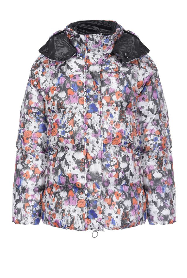 Reversible duvet coat with floral print