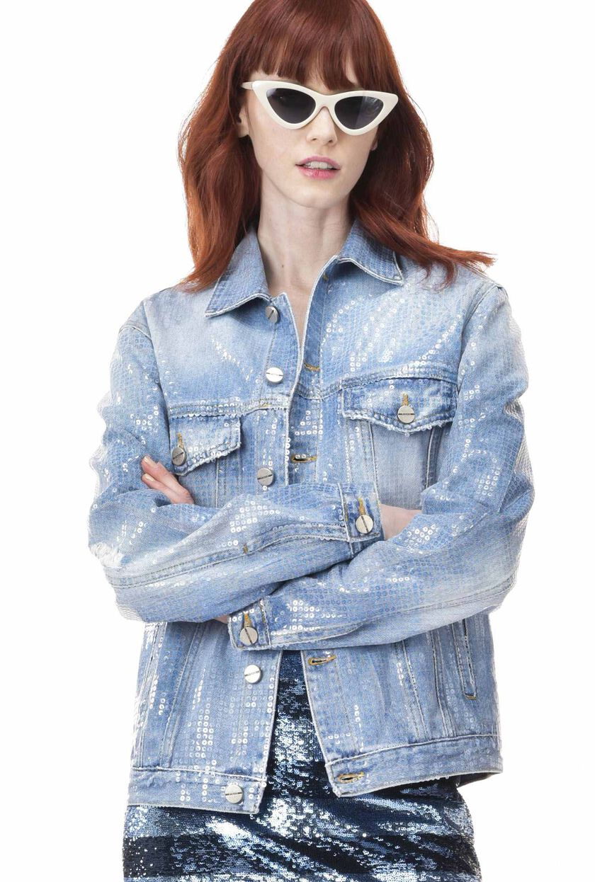 Sequin denim jacket