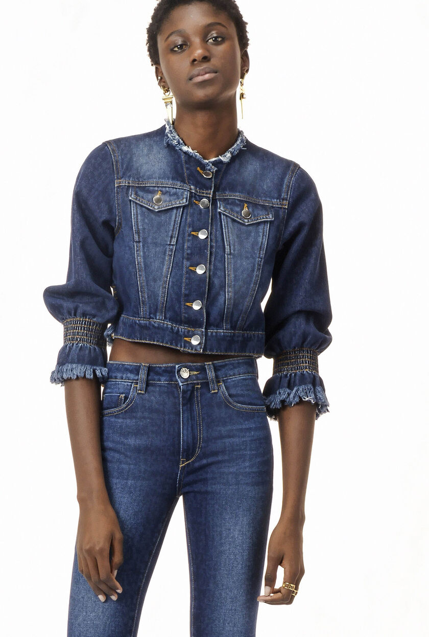 Comfort fit non-stretch blue denim jacket