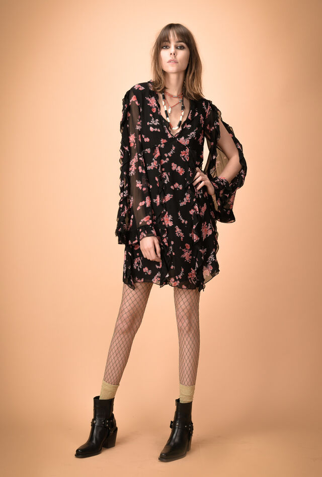 Flower-print creponne dress with ruffles
