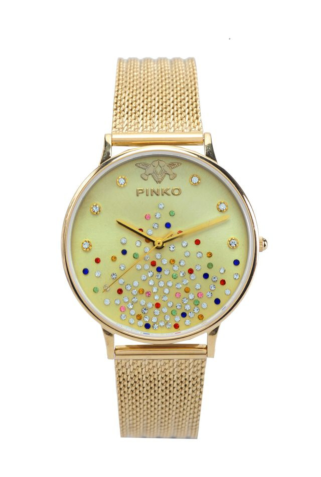 Watch with ribbed golden metal mesh strap
