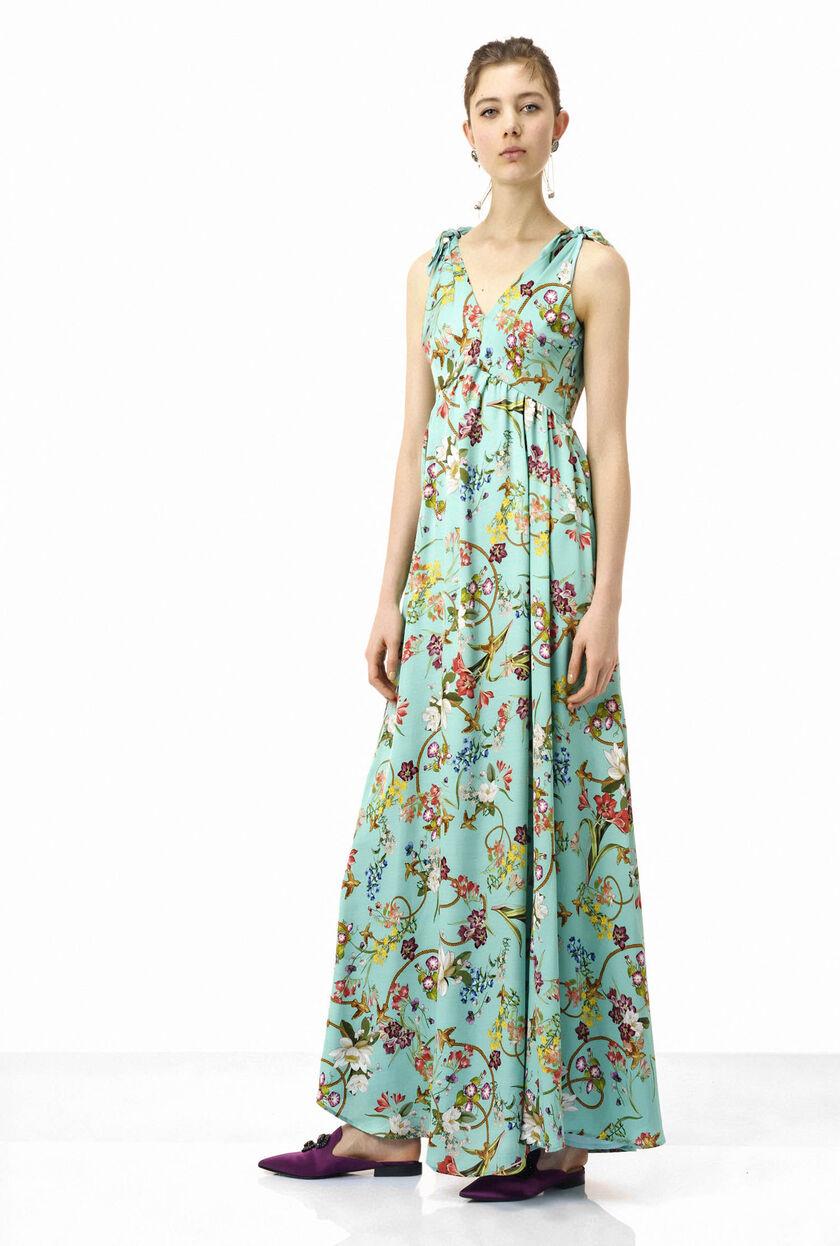 Long printed twill dress