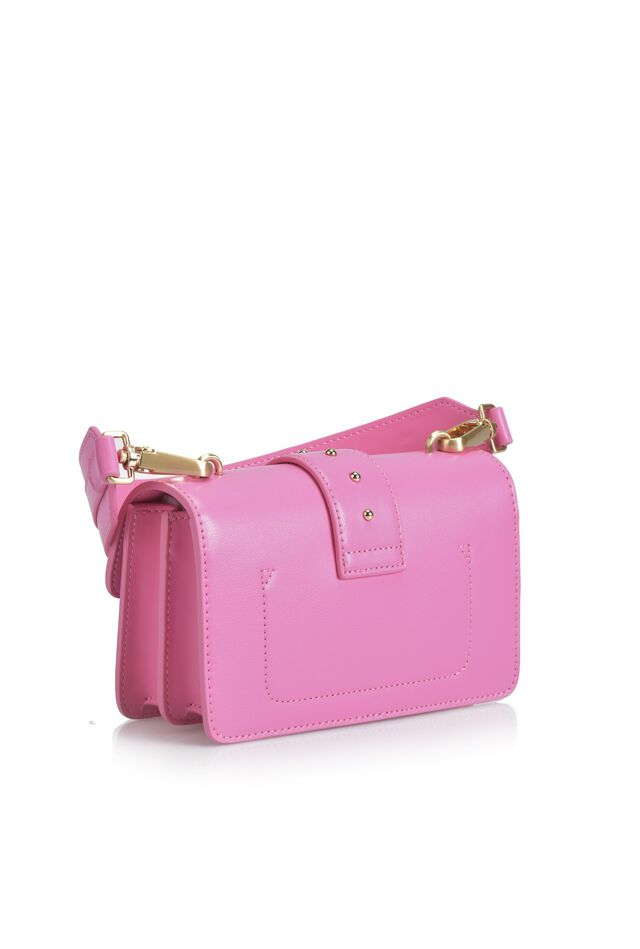 Leather mini bag with gold buckle