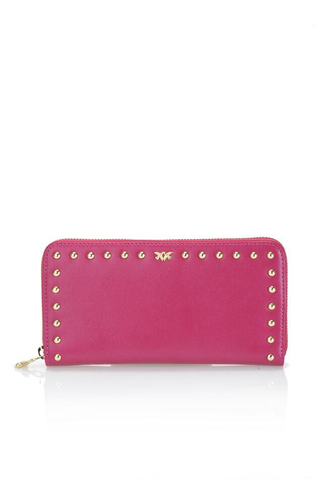 Wallet con zip in vitello e seta