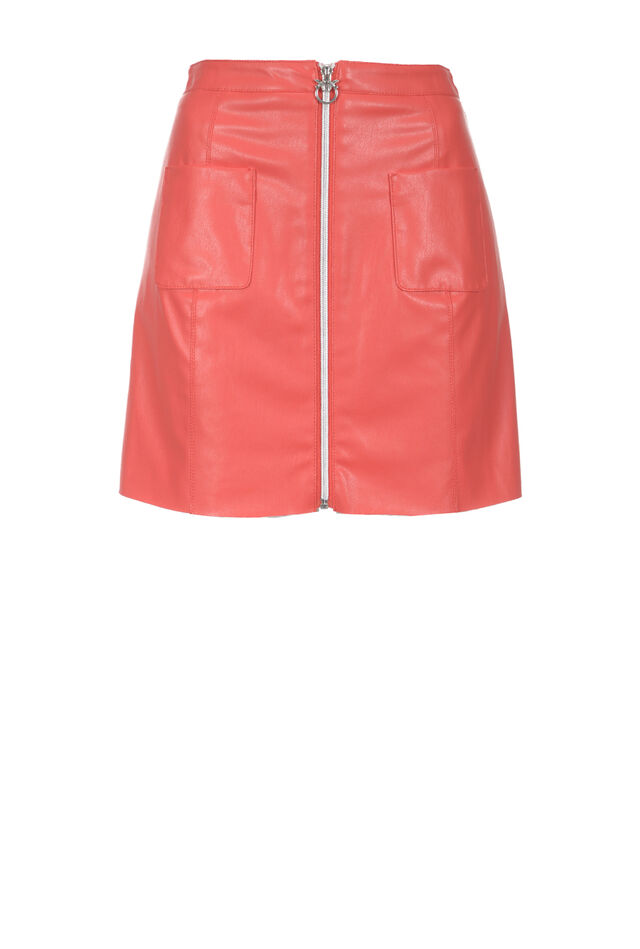 Zip front miniskirt in leather effect fabric