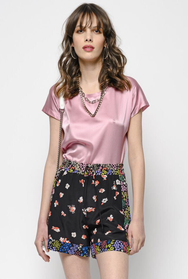 Short sleeve silk satin top