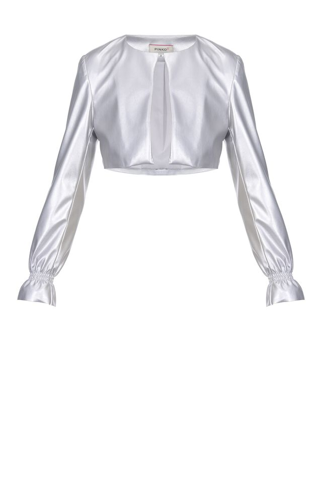 Metallic leather-look jacket