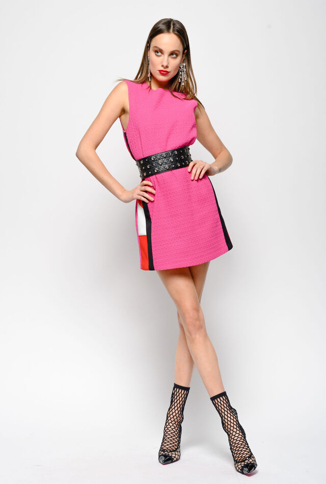 Lace dress with colour-block stripes