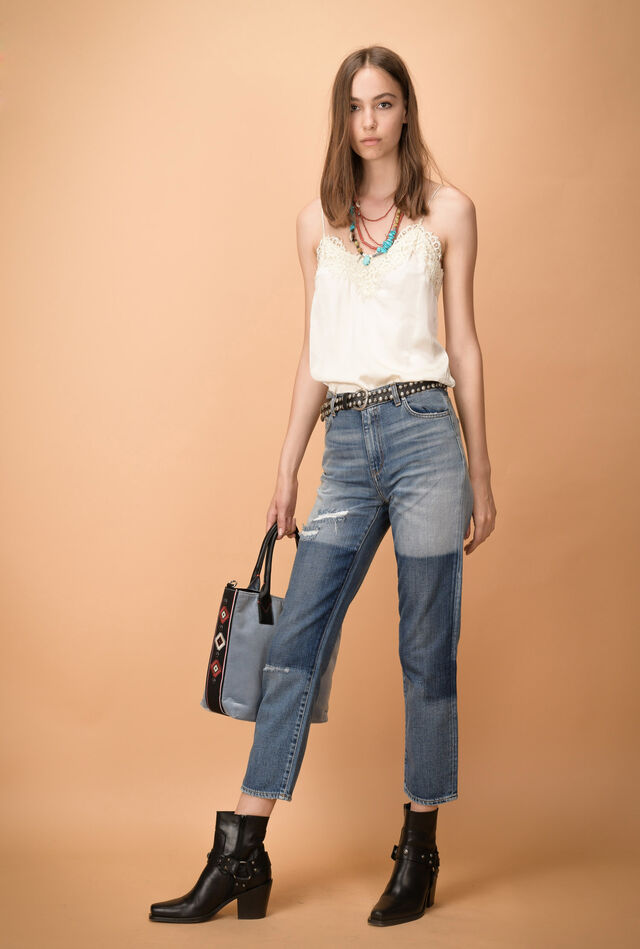 Cigarette jeans with patchwork detail